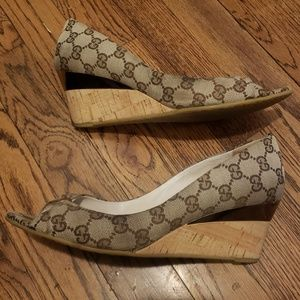 Gucci Monogram Cyprus Peep Toe Wedges